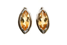9ct White Gold marquise Citrine Stud earrings Gift Boxed Studs Made in UK