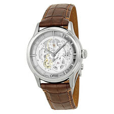 Oris Artelier Skeleton Dial Brown Leather Mens Watch 01 734 7684 4051-07 5 21
