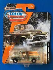 2017 Matchbox COLOR CHANGERS (VERSION 1) U.S. ARMY 1957 GMC STEPSIDE pickup!