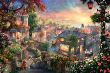 1000 Pieces Adult Puzzle Flowers Peaceful Small Town Jigsaw Educational Toys Gif