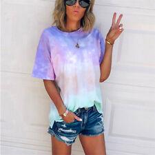 Women  Loose T-Shirt Tie-Dye Gradient  Shirts Short Sleeve Blouse Summer Tops