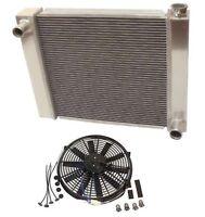 "For Universal Chevy GM 2 Row Aluminum Radiator 22""x 19"" x 3"" & 16"" Straight Fan"