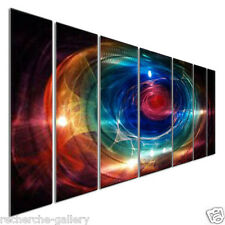 Hand Sanded Metal Wall Sculpture Modern Decor by Ash Carl 7 Panel Set