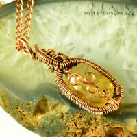 NATURAL FACETED CITRINE CRYSTAL NECKLACE ANTIQUED COPPER WIRE WRAPPED GEMSTONE