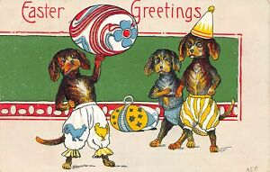 G46/ Easter Postcard Holiday Greetings c1910 Dressed Dog Clowns Eggs 8