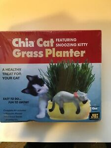 CHIA CAT GRASS PLANTER FEATURING SNOOZING KITTY BRAND NEW SEALED