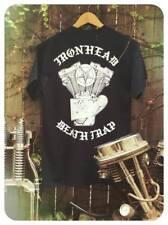 IRONHEAD DEATH TRAP black 100% cotton tee sportster engine motor xlh rigid frame