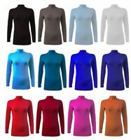 WOMEN LADIES LONG SLEEVE TURTLE POLO NECK TOP WOMENS TOP JUMPER LOT 8-26