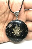 Orgone Black Tourmaline Marijuana Leaf Pendant Orgonite Reiki EMF Real Necklace