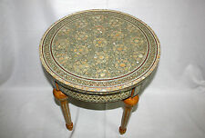 "1 Egyptian Inlaid Mother of Pearl Mahogany Wood Table Round 20"" X 22"" # 267"