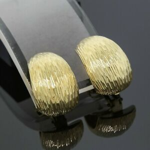Tiffany & Co. 18K Yellow Gold Textured Clip On Huggie Earrings