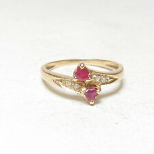 Estate 14K Yellow Gold Natural Heart Apple Red Ruby And Diamond Ring 0.50 Cts