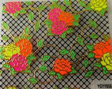 Nailart stickers ongles autocollants: fleurs multicolores - fond résille noire