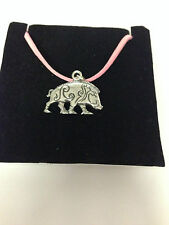 Celtic boar refcbpp  Motif Pewter  PENDENT ON A PINK CORD Necklace Handmade