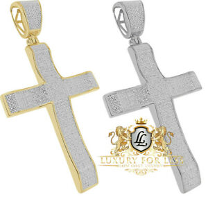 Big 2.75'' Real Diamond 0.85 Cwt. Jesus Cross Piece 10K Gold Over Charm Pendent