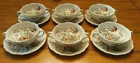 12 Pc. Vintage Royal Doulton HAMPSHIRE 2 Handled Cups/bowls & Sauces Pretty!