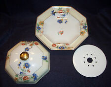 Haviland Limoge 3 Pc ROSE SPRAY Covered BUTTER Cheese Serving Dish Lid Strainer