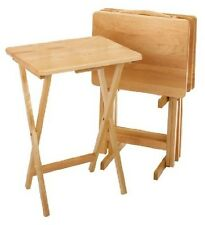 TV Tary Table Set With Storage Stand Folding Natural Wood Portable Furniture