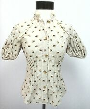 FREE PEOPLE Beige Floral Womens Boho Hippie Blouse Shirt Button Up Sz O NICE!
