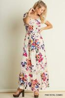 UMGEE Bohemian BOHO Ruffled Chic Romantic Sexy Floral Maxi Peasant Dress NEW