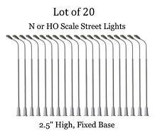 20 New Ho or N Scale Model Railroad Street Lights - Single head LED - 2.5