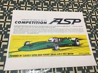 VINTAGE CLASSIC INDUSTRIES  COMPETITION ASP CAR  POSTER PAGE VERY COOL COLOR AD!