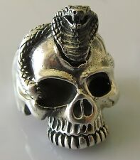 Secondhand 925 Silver Skull With Cobra Ring Size T