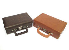 Set Of 2 Vintage Cassette Tape Cases Brown & Tan Faux Leather W. Handles