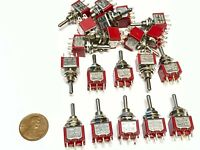 20 Pieces Momentary Mini Toggle Switch (ON)-OFF-(ON) 6 pin 12vdc dpdt 1/4 A5
