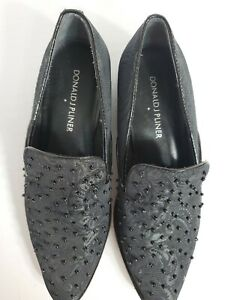 "Donald J Pliner Womans  Black Textile Upper body 1"" heel  Loafers 5M"