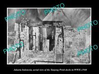 OLD POSTCARD SIZE PHOTO JAKARTA INDONESIA, AERIAL VIEW OF HARBOUR IN WWII c1940