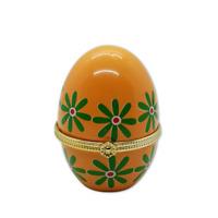 "Porcelain Pill Box Egg Orange Floral Easter Mini Trinket Clasp Box Painted 3"""