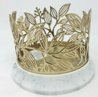1 BATH & BODY WORKS GOLDEN BRANCHES MARBLE-LIKE BASE LARGE 3-WICK CANDLE HOLDER