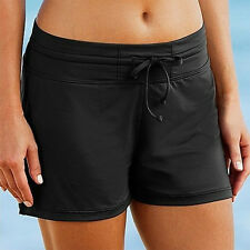 Women Full Coverage Swim Shorts Solid Color Drawstring Swimwear Stretchy Bottom
