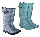Womens Ladies Dog & Heart Print Welly, Wellies, Wellington Boots Sizes UK 4 x 8