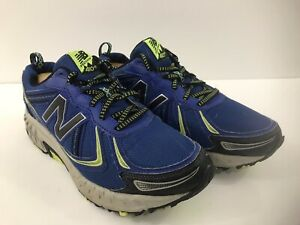 New Balance 410v5 Mens Blue Black Yellow Trail Running Shoes Size 8 4E MT410LF5