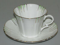 Royal Albert bone china England  art deco green stripes gold rim cup and saucer
