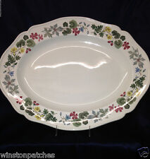 "WEDGWOOD RICHMOND 15 7/8"" OVAL PLATTER MULTICOLORED FLOWERS LEAVES ENGLAND"