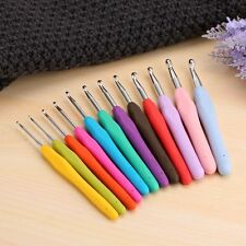 Soft Handle12PCS Set Needles Knit Weave Crochet Hooks Craft Yarn Aluminum