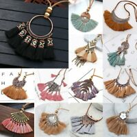 Fashion Boho Cotton Tassel Pendant Necklace Women Long Leather Jewelry Gifts NEW