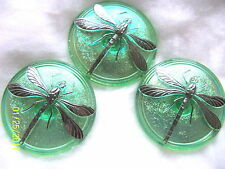 "CZECH GLASS BUTTONS(3pcs)DRAGONFLY PLATINUM 1.5"" -41mm  US  DX 003"