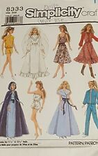 SIMPLICITY SEWING PATTERN 8333 BARBIE FASHION DOLL RETRO CLOTHES FORMAL DRESSES