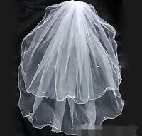 Women White Pearl Wedding Bride bridal 2 layers Hair Head Veil Accessory comb