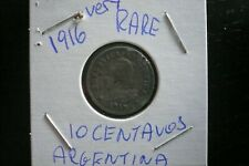 ARGENTINA 1916 10 CENTAVOS ** VERY RARE COIN ** LOW MINT