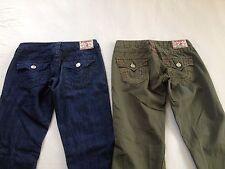 True Religion Women's Joey Boot Cut Green & Blue Jeans Size 25 & 26 L29 2 Pair
