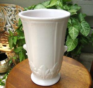 "Vintage 1930s McCoy Pottery Large 10"" Matte White Vase with Handles"