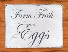 TIN SIGN Farm Fresh Eggs Beautiful Rooster Chicken Decor Farm Barn Coop