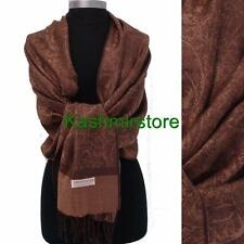 New Paisley Pashmina Silk Cashmere Shawl Scarf Stole Wrap Soft Coffee/brown#P304
