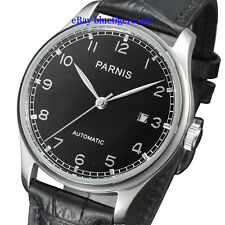 Parnis 43mm Seagull Movement Men's Classic Automatic Date Watch Black Dial