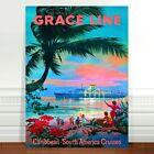 "Vintage Ship Travel Poster Art ~ CANVAS PRINT 24x18"" ~ Grace Line Cruise"